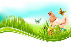 Easter vector template of paschal eggs and chicken
