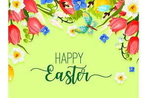 Easter happy holiday greeting card vector flowers
