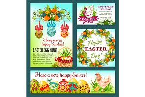 Easter Egg Hunt rabbit cartoon banner template