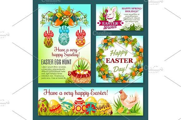 Easter Egg Hunt Rabbit Cartoon Banner Template