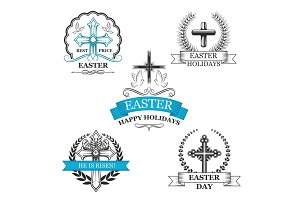 Easter holy cross with dove bird badge set