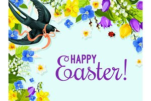 Easter spring flower and bird greeting card design