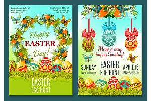 Easter Egg Hunt celebration poster template set
