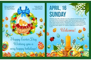 Easter Day celebration cartoon poster template