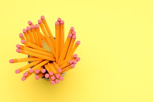 Pencil Cup On Yellow