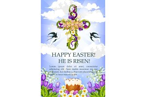 Easter cross with cake, egg and flower poster