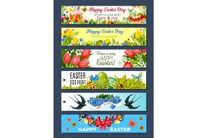 Easter gift tag set with cartoon holiday symbols