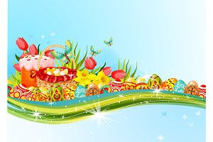 Easter egg and flower banner with copy space