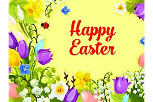 Easter spring flowers paschal eggs vector greeting
