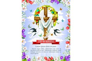 Easter cross with flower, egg wreath greeting card