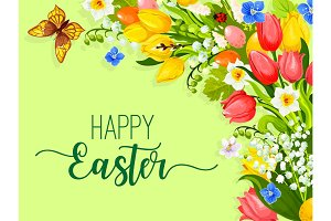 Easter paschal flowers wreath eggs vector greeting