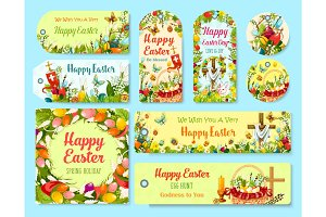 Easter holiday symbols tag and greeting poster set