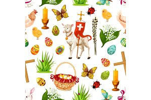 Vector Easter seamless pattern paschal symbols