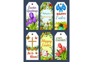 Easter greeting tag and holiday gift label set