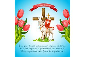 Easter cross with lamb and flower poster template