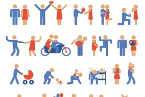 Family and Couple Pictogram Icons