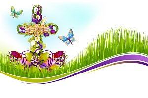 Vector Easter crucifix of flowers greetting card