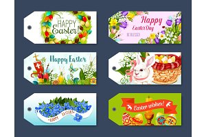 Easter gift tag and greeting label set design
