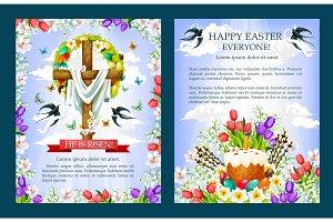 Easter vector crucifix cross, paschal cake poster