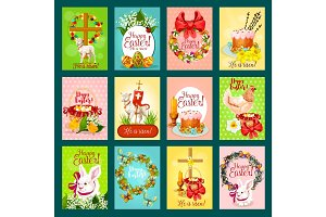 Easter greeting card, banner, poster set design