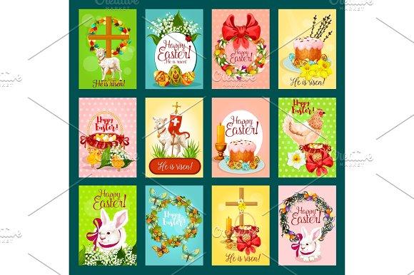 Easter Greeting Card Banner Poster Set Design