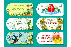 Easter greeting tag and label set for gift design