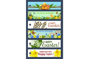 Easter holiday floral tag and gift label set