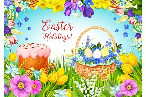 Easter paschal cake, eggs, flowers vector greeting