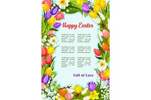 Easter flowers bunch wreath vector greeting poster