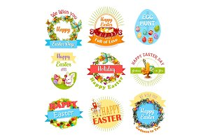 Easter egg and rabbit icon set for holiday design