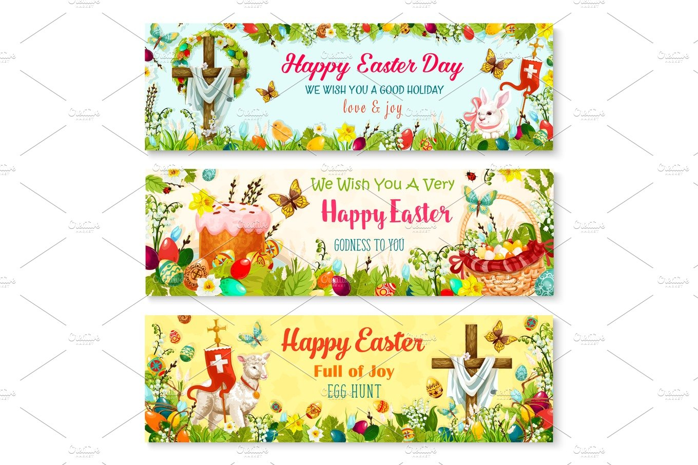 Easter Cartoon Banner With Spring Holiday Symbols Graphics
