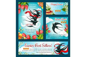 Easter Egg Hunt banner template of flower and bird