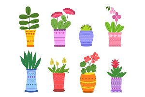 Cartoon Flowers in pots