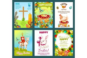 Easter holidays cartoon greeting card set