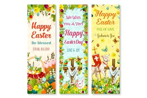 Easter holiday symbols greeting banner set design