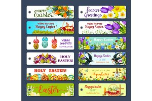 Easter greeting tag and Egg Hunt gift label set