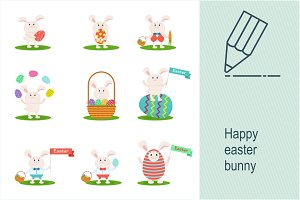 Set of happy easter bunny