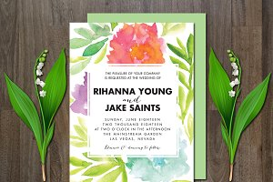 Wedding Invitation Watercolor Flower