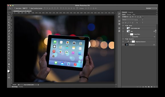 iPad Template, City Lights (S) in Templates - product preview 1