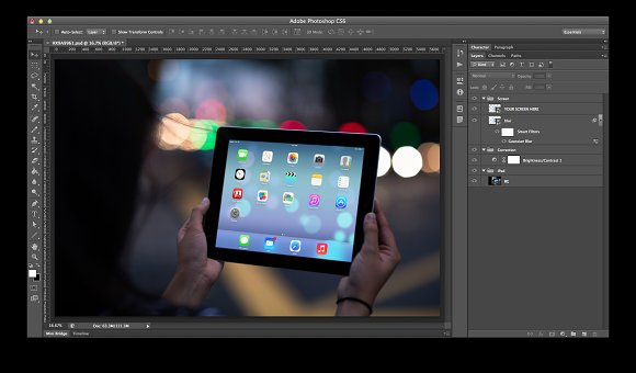 iPad Template, City Lights2 (S) in Templates - product preview 1