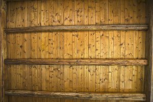 Wooden ceiling.