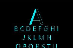 Neon modern font outline vector