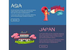 Set of Asia and Japan Flat Vector Web Banners