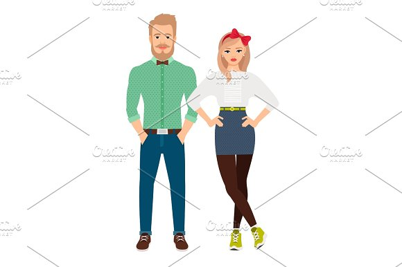 Retro style dressed fashion couple