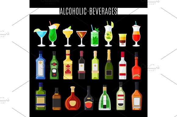 Alcoholic beverages icons set in Illustrations