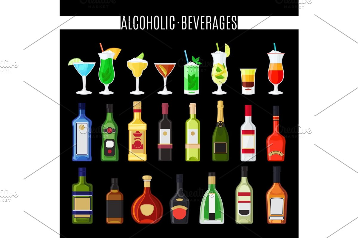 Alcoholic beverages icons set in Illustrations - product preview 8