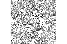 Floral black and white decorative pattern