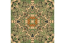 Green and beige floral decorative pattern