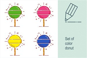 Set of color round candy