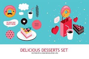 Banner set Delicious dessert element